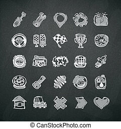 Icons Set of Car Symbols on Blackboard. In the EPS file,...