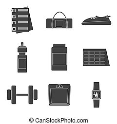 Icons set of fitness, sport