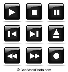 Set of glossy buttons with player icons. Black and white series.