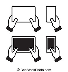 Icons set of hands holding smart phone and tablet. Vector