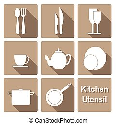 Icons set of kitchen utensil in flat design style