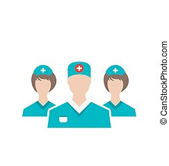 Icons set of medical employees in modern flat design style, isol