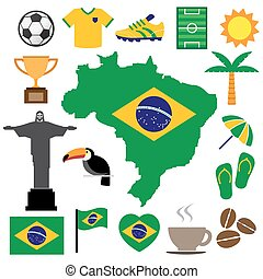 Icons set of of the Brazil element