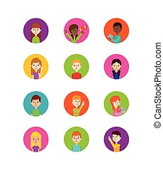 icons set of people