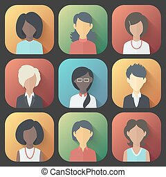 Icons Set of Persons Female Different Ethnic