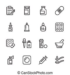 Icons set of Pills. Vector line icons