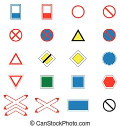 Icons set of road signs and signs on a white background