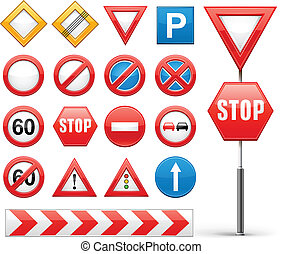 icons set of road signs