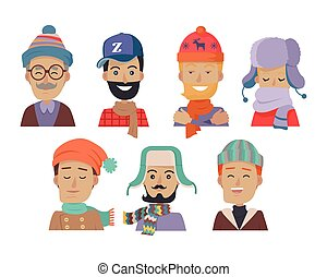 Icons Set of Smiling Men in Hats and Scarves