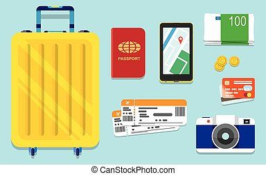 Icons set of traveling, tourism and journey objects and...