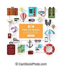 Icons set of traveling, tourism, summer vacation