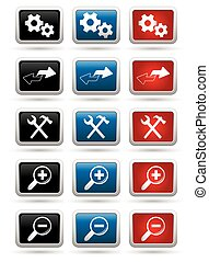 Icons set on the rectangular buttons