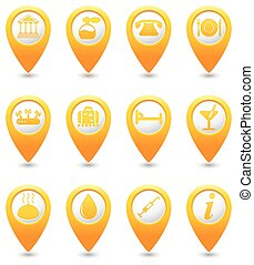 Icons set on yellow map pins