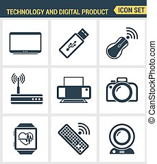 Icons set premium quality of computer technology and electronics devices, mobile phone communication and digital product. Modern pictogram collection flat design style. Isolated white background.
