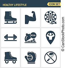 Icons set premium quality of healthy lifestyle icon  collection gym rollers baseball fitness sport. Modern pictogram  flat design style symbol . Isolated white background