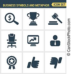 Icons set premium quality of various business symbols and metaphor elements. Modern pictogram collection flat design style. Isolated white background.