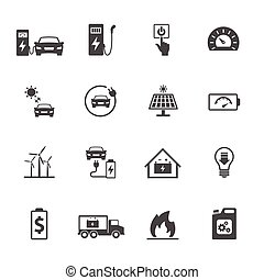icons set related to electric car. Vector icon design