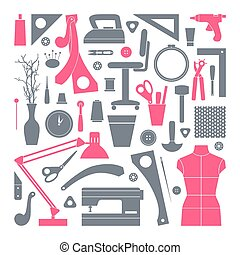 Icons set sewing and hobby tools