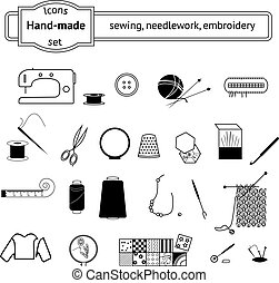 Icons set sewing, needlwork, knitting