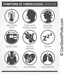 Icons set Symptoms of tuberculosis. TB. Vector infographic....