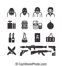 Icons set terrorist vector design.