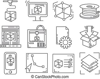 Icons set - vector icons in linear style - 3D print icons...