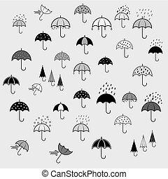Icons set with umbrellas