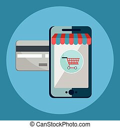Icons shop online, business icons flat design. App icons, web ideas network page, virtual shopping, credit card