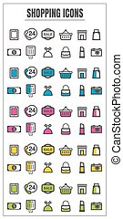 icons shopping color blck blue pink Yellow green vector on white background
