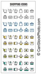 icons shopping vector color black blue Yellow green on white background