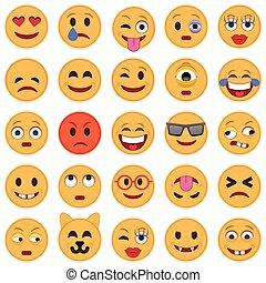 icons., sonrisa, conjunto, emoticons., emoji.