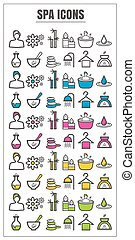 icons spa color blck blue pink Yellow green vector on white background