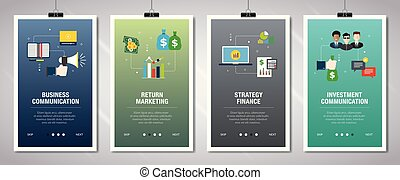 icons., spandoek, internet zaak, communicatie, financiën, set