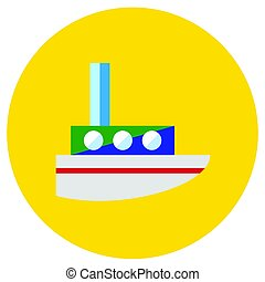 Icons steamer of toys in the flat style. Vector image on a round colored background. Element of design, interface.