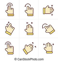 Icons Style Basic human gestures using modern digital devices Icons Set, Vector Design