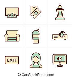 Icons Style cinema and movie icons set