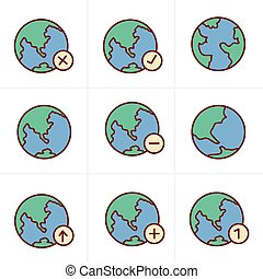Icons Style Earth vector icons set