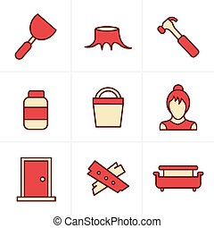 Icons Style  Icons set carpentry
