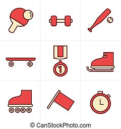 Icons Style Icons Style Set of monochromatic simple sports icons