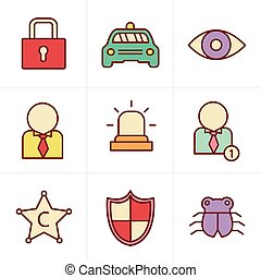 Icons Style Security icon set on white background