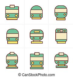 Icons Style Set of transport icons - Train and Tram, vector illustration