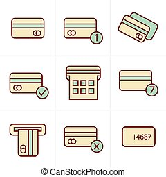 Icons Style Vector black credit cart icons set