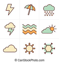 Icons Style  weather  Icons Set, Vector Design