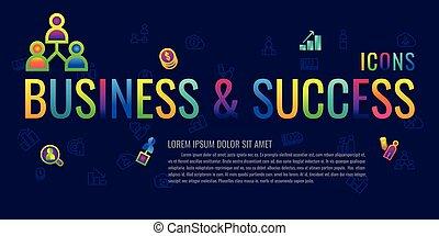 icons success set colorful. business, management, finance, strategy, planning, analytics, banking, communication, social network, affiliate marketing. on blue background. vector illustration. logo. symbol