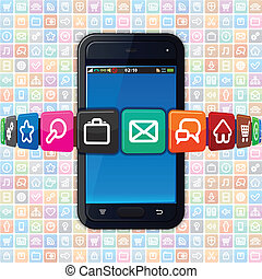 icons., telefon, temat, internetowa technologia, mądry