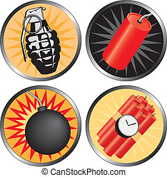 Icons that go BOOM! Including a grenade, bomb, time bomb and...
