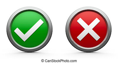 Web buttons tick & cross isolated on white background, three-dimensional rendering