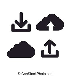 icons upload download design isolated