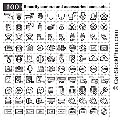 Icons - 100 security camera and accessories icons sets.