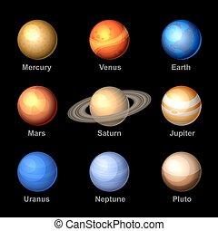 icons., vector., solaire, planètes, système